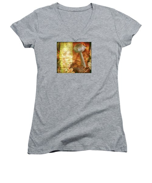 Vintage Nature Journal Page  Women's V-Neck T-Shirt (Junior Cut) by Bellesouth Studio