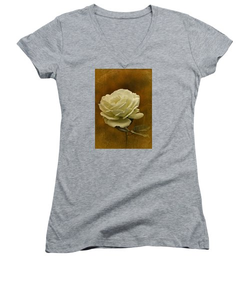 Vintage November White Rose Women's V-Neck T-Shirt (Junior Cut) by Richard Cummings