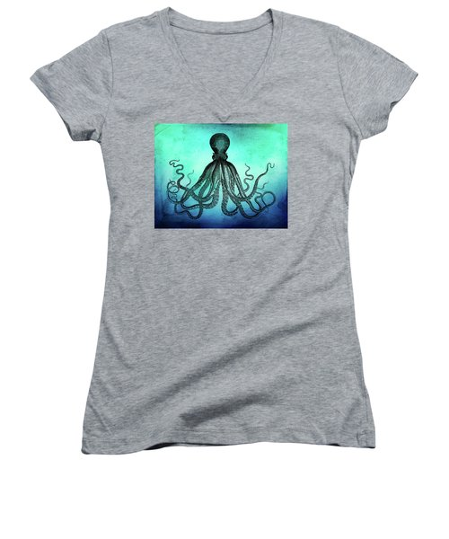 Vintage Octopus On Blue Green Watercolor Women's V-Neck