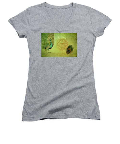 Women's V-Neck T-Shirt (Junior Cut) featuring the digital art Vintage Peacock Art by Peggy Collins