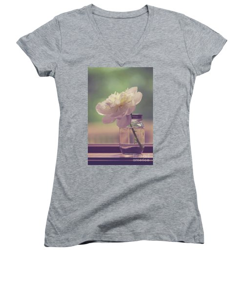 Women's V-Neck T-Shirt featuring the photograph Vintage Peony Flower Still Life by Edward Fielding