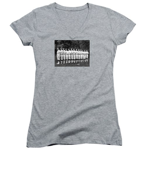 Vintage Photo Of Women's Baseball Team Women's V-Neck T-Shirt (Junior Cut) by American School