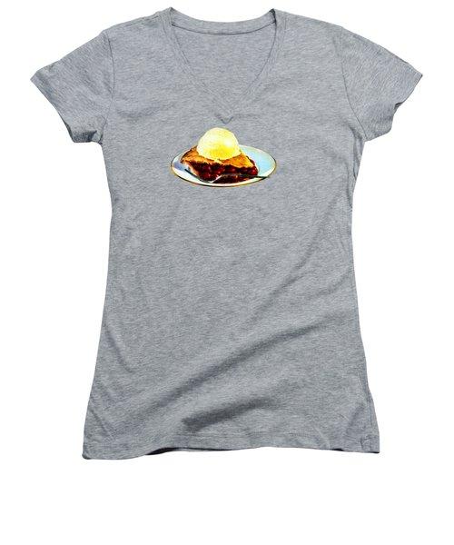 Vintage Pie A La Mode Women's V-Neck T-Shirt (Junior Cut) by Historic Image