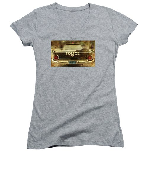 Vintage Police Car - Baltimore, Maryland Women's V-Neck