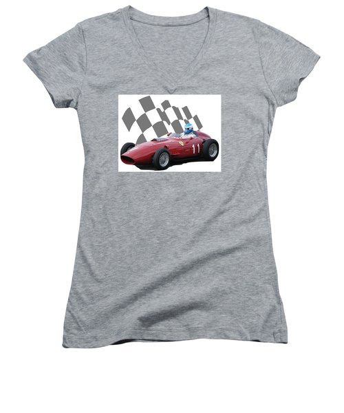 Vintage Racing Car And Flag 2 Women's V-Neck T-Shirt (Junior Cut) by John Colley
