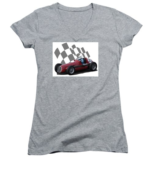 Vintage Racing Car And Flag 6 Women's V-Neck T-Shirt (Junior Cut) by John Colley