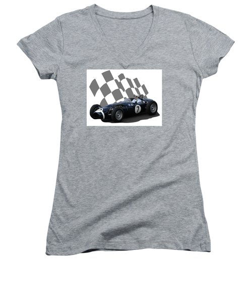 Vintage Racing Car And Flag 8 Women's V-Neck T-Shirt (Junior Cut) by John Colley