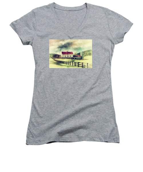 Women's V-Neck T-Shirt (Junior Cut) featuring the digital art Vintage Red Roof Barn by Lois Bryan