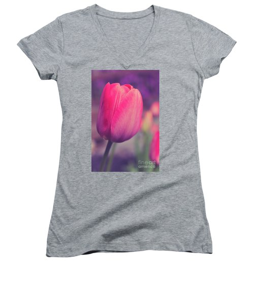 Women's V-Neck T-Shirt featuring the photograph Vintage Red Tulip Flower by Edward Fielding