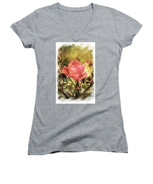 Vintage Rose Women's V-Neck T-Shirt (Junior Cut) by Tina  LeCour