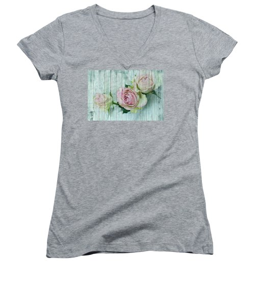 Vintage Shabby Chic Pink Roses On Wood Women's V-Neck (Athletic Fit)