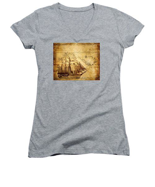 Vintage Ship Map Women's V-Neck