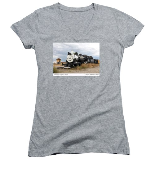 Vintage Train At A Scenic Railroad Station In Antonito In Colorado Women's V-Neck T-Shirt (Junior Cut) by Carol M Highsmith