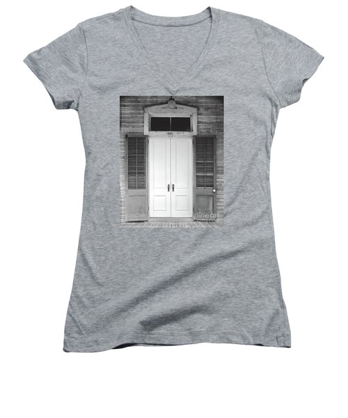 Women's V-Neck T-Shirt (Junior Cut) featuring the photograph Vintage Tropical Weathered Key West Florida Doorway by John Stephens