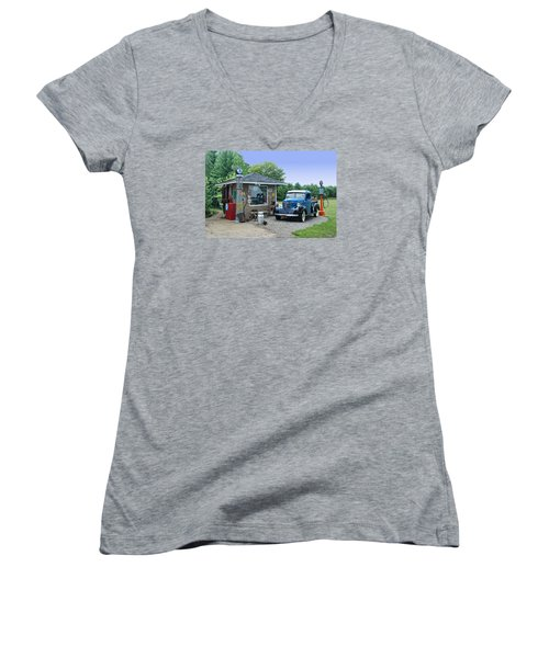 Women's V-Neck T-Shirt (Junior Cut) featuring the photograph Vintage Truck And Filling Station by Judy  Johnson