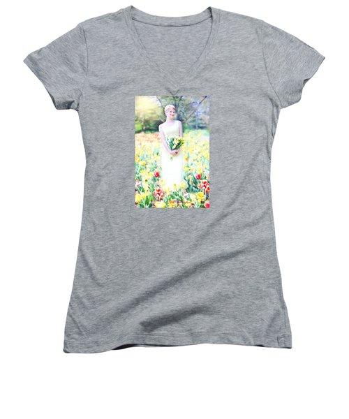 Vintage Val Spring Tulips Women's V-Neck T-Shirt