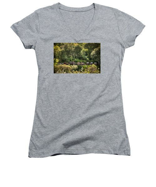 Vintage Vehicles In The Spring Women's V-Neck (Athletic Fit)