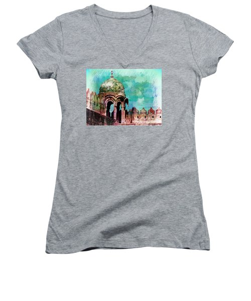 Vintage Watercolor Gazebo Ornate Palace Mehrangarh Fort India Rajasthan 2a Women's V-Neck (Athletic Fit)