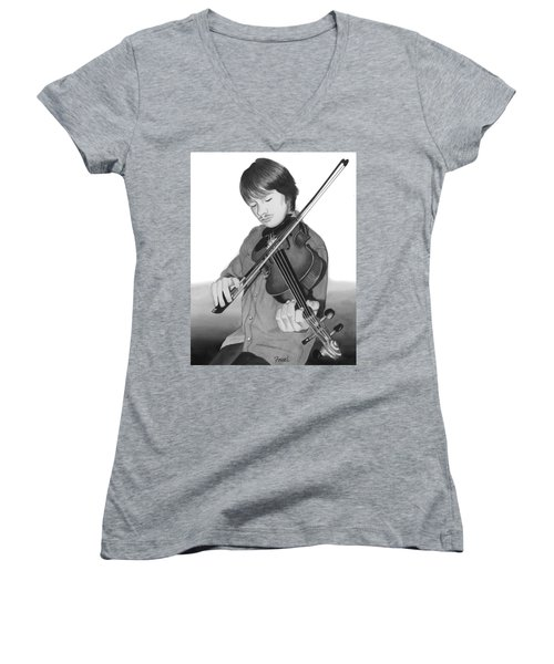 Women's V-Neck T-Shirt (Junior Cut) featuring the painting Viola Master by Ferrel Cordle