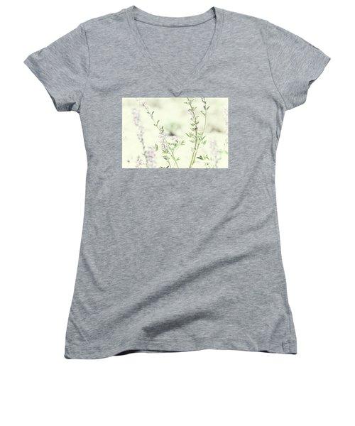 Violet And Green Bloom Women's V-Neck T-Shirt (Junior Cut) by Amyn Nasser