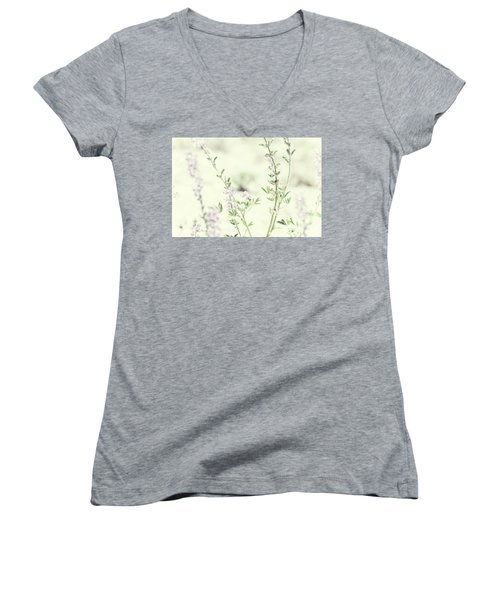 Violet And Green Bloom Women's V-Neck T-Shirt