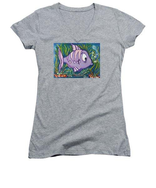 Violet Fish Women's V-Neck T-Shirt (Junior Cut) by Rita Fetisov