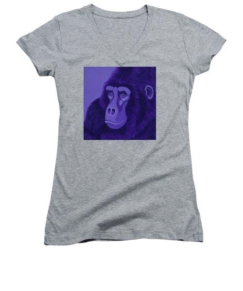 Violet Gorilla Women's V-Neck T-Shirt