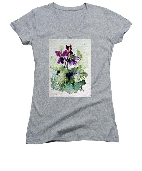 Women's V-Neck T-Shirt (Junior Cut) featuring the painting Violet Iv by Kovacs Anna Brigitta