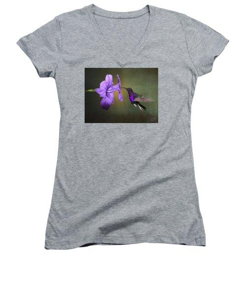 Violet Sabrewing Hummingbird Women's V-Neck (Athletic Fit)