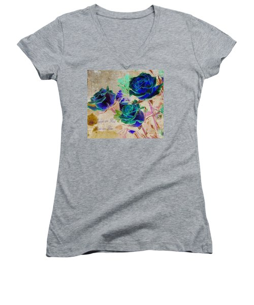 Violets Are Red- Roses Are Blue Women's V-Neck