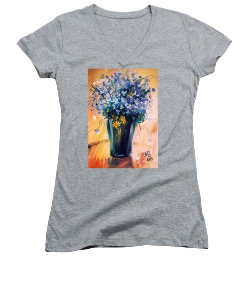 Women's V-Neck T-Shirt (Junior Cut) featuring the painting Violets by Mikhail Zarovny