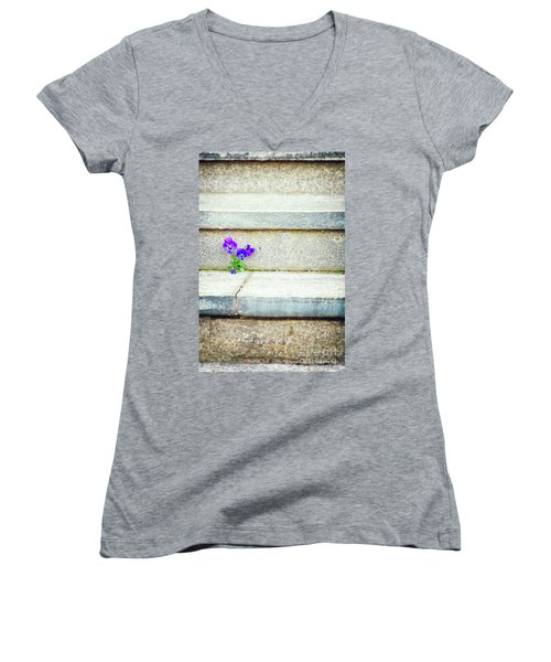Women's V-Neck T-Shirt featuring the photograph Violets    by Silvia Ganora