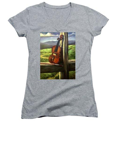 Violin Women's V-Neck T-Shirt (Junior Cut) by Randy Burns