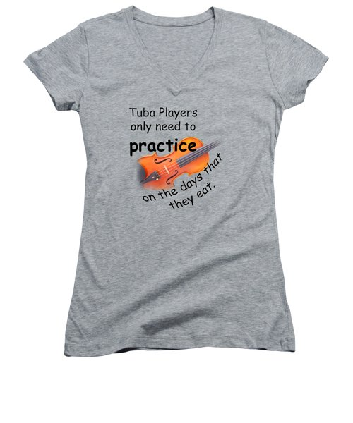 Violins Practice When They Eat Women's V-Neck T-Shirt (Junior Cut) by M K  Miller