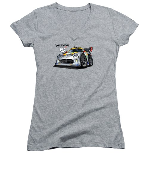 Viper Gts-r Car-toon Women's V-Neck T-Shirt (Junior Cut) by Steven Dahlen