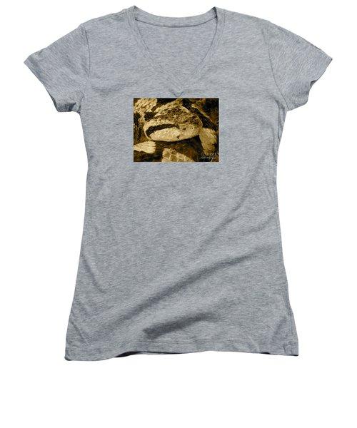Viper's Glare Women's V-Neck T-Shirt (Junior Cut) by KD Johnson