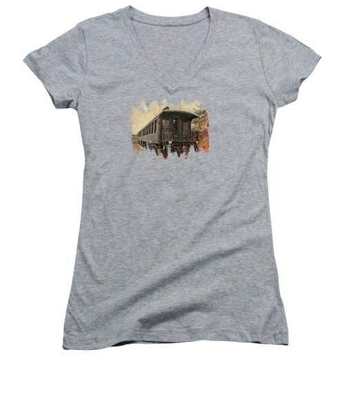 Virginia City Pullman Women's V-Neck T-Shirt (Junior Cut) by Thom Zehrfeld