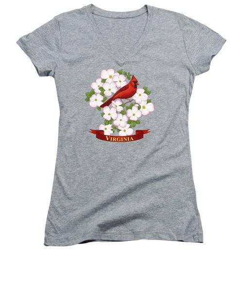 Virginia State Bird Cardinal And Flowering Dogwood Women's V-Neck T-Shirt