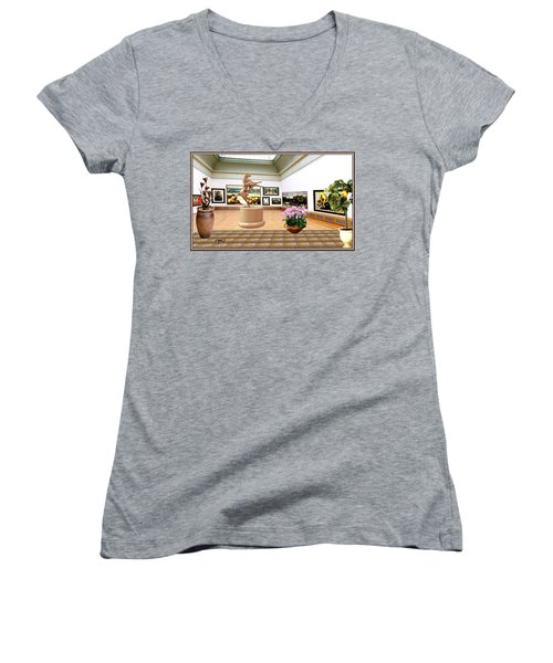Virtual Exhibition - A Modern Horse Statue Women's V-Neck T-Shirt (Junior Cut) by Pemaro