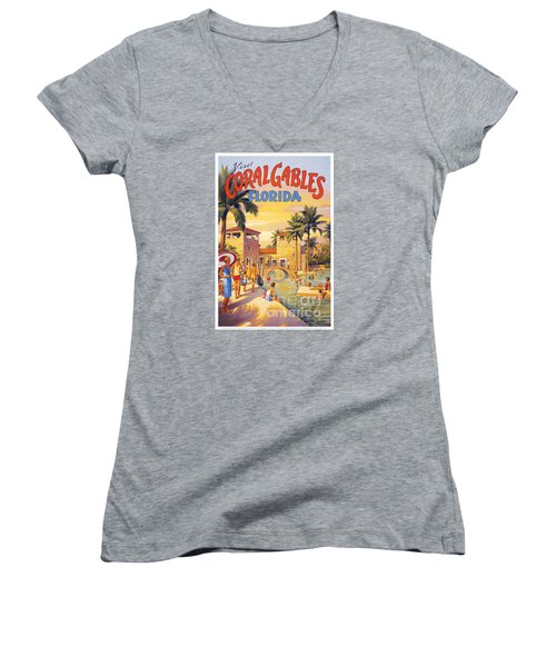 Visit Coral Gables-florida Women's V-Neck T-Shirt (Junior Cut) by Nostalgic Prints