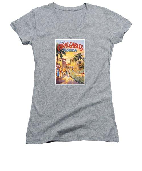 Visit Coral Gables-florida Women's V-Neck T-Shirt