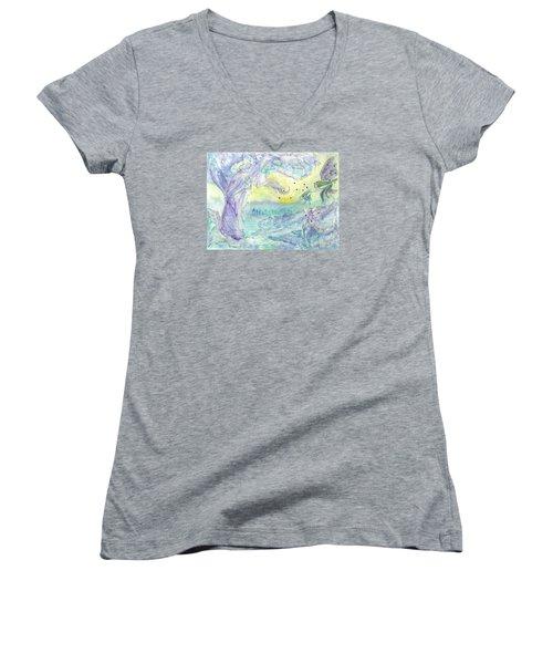 Visitors Women's V-Neck T-Shirt (Junior Cut) by Veronica Rickard