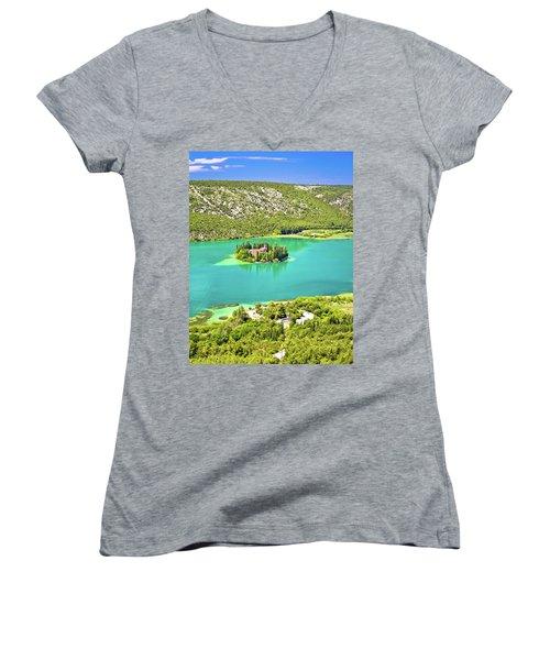 Visovac Lake Island Monastery Aerial View Women's V-Neck T-Shirt