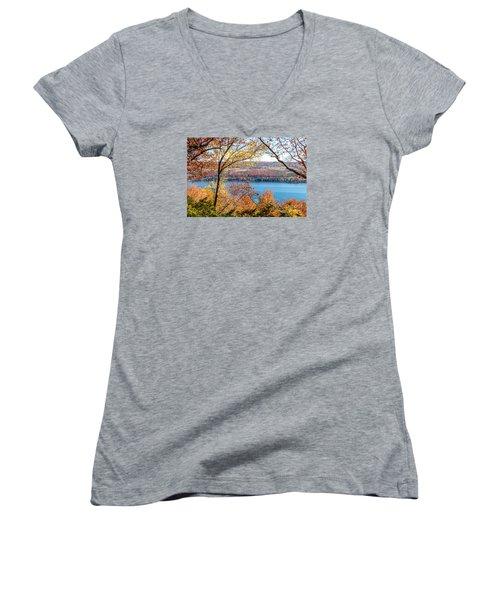 Vista From Garrett Chapel Women's V-Neck T-Shirt (Junior Cut) by William Norton