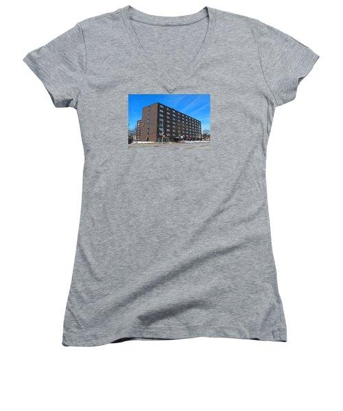 Women's V-Neck T-Shirt (Junior Cut) featuring the photograph Vistula Manor by Michiale Schneider