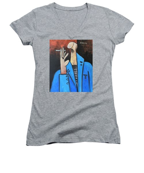 Vitae The Smoker In A Blue Blazer  Women's V-Neck T-Shirt (Junior Cut)