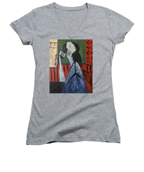 Vitae Thinking Man At The Tea House  Women's V-Neck T-Shirt (Junior Cut)