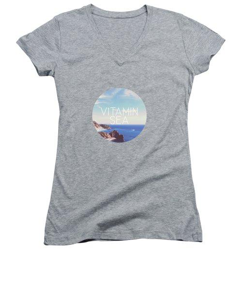 Vitamin Sea Women's V-Neck T-Shirt (Junior Cut) by Alexandre Ibanez