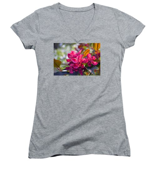 Vivid Pink Flowers Women's V-Neck T-Shirt (Junior Cut) by Tina M Wenger