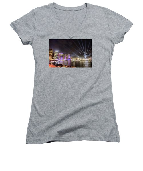 Women's V-Neck T-Shirt featuring the photograph Vivid Sydney Skyline By Kaye Menner by Kaye Menner